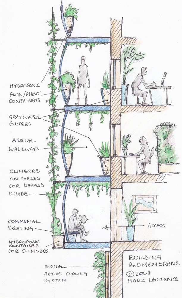 "Vertical ""biomembranes"" give us vertical landscapes, satisfy our love for nature - biophilia and deliver ecosystem services"
