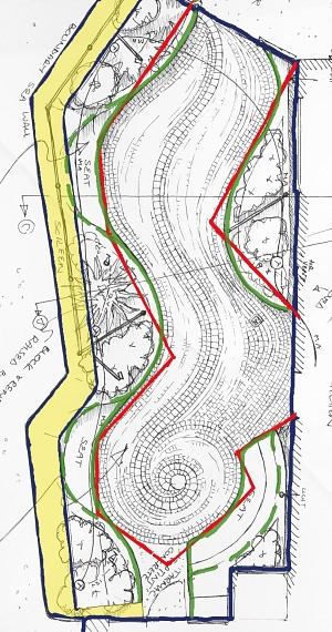 Plan showing a curvilinear setout