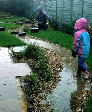 Children playing in a rain garden